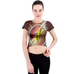 Flash Flashy Logo Crew Neck Crop Top by Onesevenart