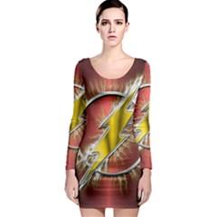 Flash Flashy Logo Long Sleeve Bodycon Dress