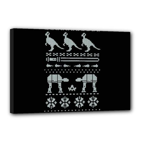 Holiday Party Attire Ugly Christmas Black Background Canvas 18  X 12  by Onesevenart
