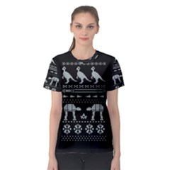 Holiday Party Attire Ugly Christmas Black Background Women s Sport Mesh Tee by Onesevenart