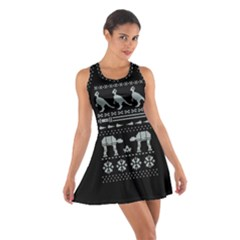 Holiday Party Attire Ugly Christmas Black Background Cotton Racerback Dress by Onesevenart