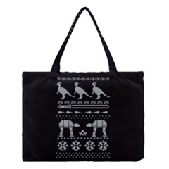 Holiday Party Attire Ugly Christmas Black Background Medium Tote Bag by Onesevenart