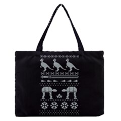Holiday Party Attire Ugly Christmas Black Background Medium Zipper Tote Bag by Onesevenart