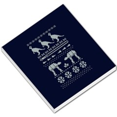 Holiday Party Attire Ugly Christmas Blue Background Small Memo Pads by Onesevenart