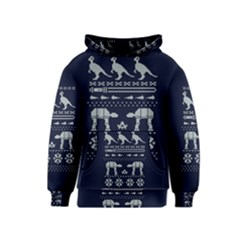 Holiday Party Attire Ugly Christmas Blue Background Kids  Pullover Hoodie by Onesevenart