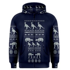 Holiday Party Attire Ugly Christmas Blue Background Men s Zipper Hoodie by Onesevenart