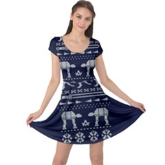 Holiday Party Attire Ugly Christmas Blue Background Cap Sleeve Dresses by Onesevenart