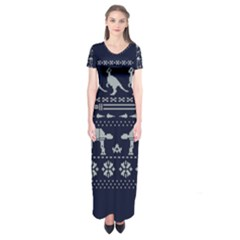 Holiday Party Attire Ugly Christmas Blue Background Short Sleeve Maxi Dress by Onesevenart