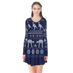 Holiday Party Attire Ugly Christmas Blue Background Flare Dress by Onesevenart