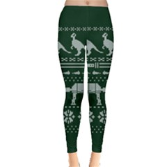 Holiday Party Attire Ugly Christmas Green Background Leggings  by Onesevenart
