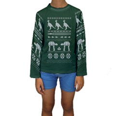 Holiday Party Attire Ugly Christmas Green Background Kids  Long Sleeve Swimwear by Onesevenart