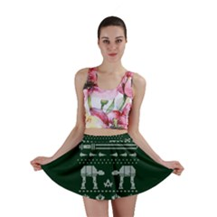 Holiday Party Attire Ugly Christmas Green Background Mini Skirt by Onesevenart