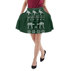 Holiday Party Attire Ugly Christmas Green Background A Line Pocket Skirt by Onesevenart