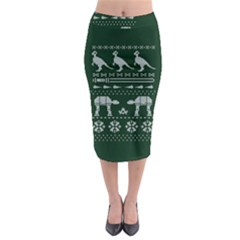 Holiday Party Attire Ugly Christmas Green Background Midi Pencil Skirt by Onesevenart