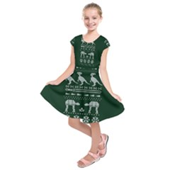 Holiday Party Attire Ugly Christmas Green Background Kids  Short Sleeve Dress by Onesevenart