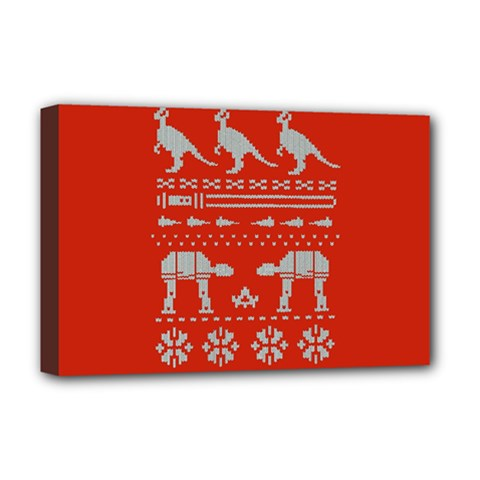 Holiday Party Attire Ugly Christmas Red Background Deluxe Canvas 18  X 12   by Onesevenart
