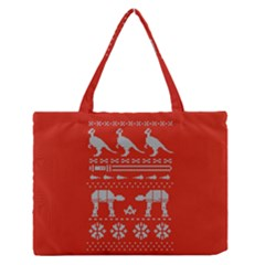 Holiday Party Attire Ugly Christmas Red Background Medium Zipper Tote Bag by Onesevenart