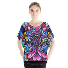 Blue Ray Self Love Healing Grid - Batwing Chiffon Blouse by tealswan
