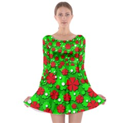 Xmas Flowers Long Sleeve Skater Dress by Valentinaart