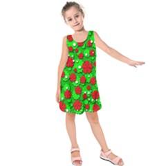 Xmas Flowers Kids  Sleeveless Dress