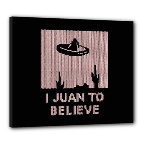 I Juan To Believe Ugly Holiday Christmas Black Background Canvas 24  X 20  by Onesevenart