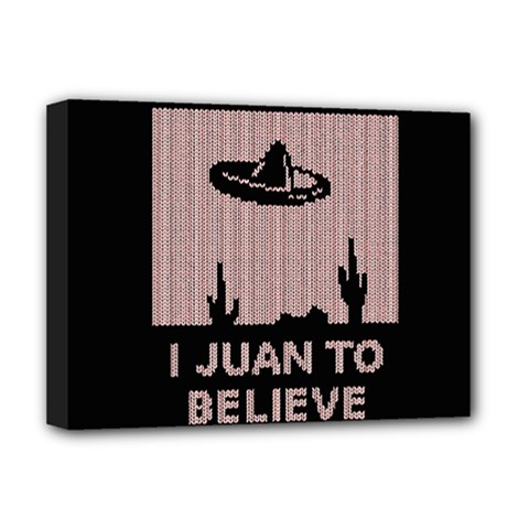 I Juan To Believe Ugly Holiday Christmas Black Background Deluxe Canvas 16  X 12   by Onesevenart