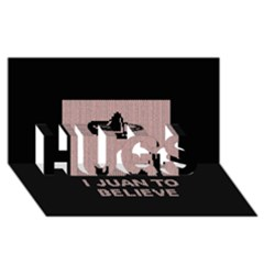 I Juan To Believe Ugly Holiday Christmas Black Background Hugs 3d Greeting Card (8x4) by Onesevenart
