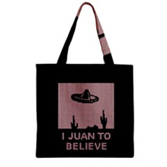 I Juan To Believe Ugly Holiday Christmas Black Background Zipper Grocery Tote Bag by Onesevenart