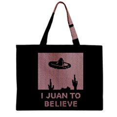 I Juan To Believe Ugly Holiday Christmas Black Background Zipper Mini Tote Bag by Onesevenart