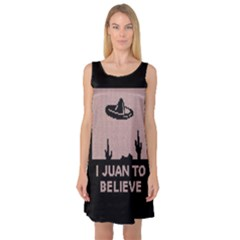 I Juan To Believe Ugly Holiday Christmas Black Background Sleeveless Satin Nightdress by Onesevenart