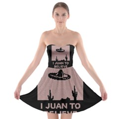 I Juan To Believe Ugly Holiday Christmas Black Background Strapless Bra Top Dress by Onesevenart
