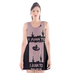 I Juan To Believe Ugly Holiday Christmas Black Background Scoop Neck Skater Dress by Onesevenart