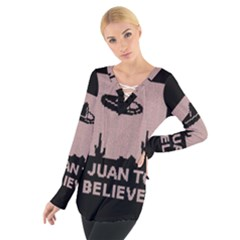 I Juan To Believe Ugly Holiday Christmas Black Background Women s Tie Up Tee by Onesevenart