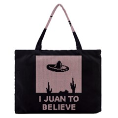 I Juan To Believe Ugly Holiday Christmas Black Background Medium Zipper Tote Bag by Onesevenart
