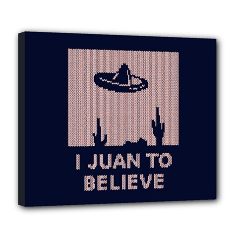 I Juan To Believe Ugly Holiday Christmas Blue Background Deluxe Canvas 24  x 20   by Onesevenart