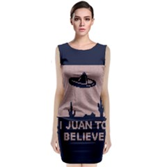 I Juan To Believe Ugly Holiday Christmas Blue Background Classic Sleeveless Midi Dress by Onesevenart