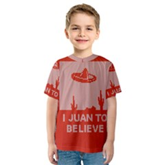 I Juan To Believe Ugly Holiday Christmas Red Background Kids  Sport Mesh Tee by Onesevenart