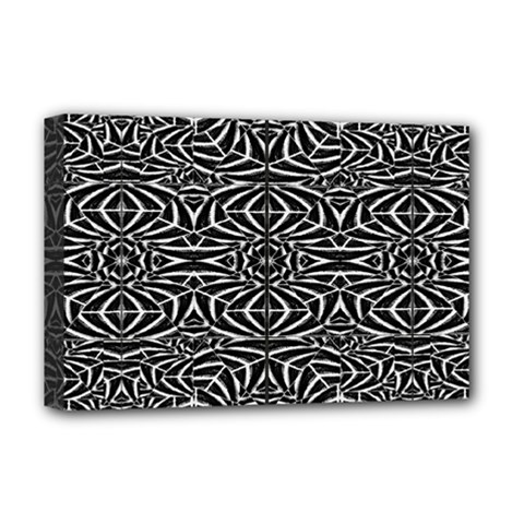 Black And White Tribal Pattern Deluxe Canvas 18  X 12   by dflcprints