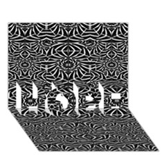 Black And White Tribal Pattern Hope 3d Greeting Card (7x5) by dflcprints