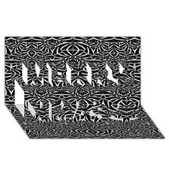 Black and White Tribal Pattern Merry Xmas 3D Greeting Card (8x4) by dflcprints
