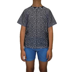 Black and White Tribal Pattern Kids  Short Sleeve Swimwear by dflcprintsclothing