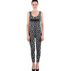 Black And White Tribal Pattern Onepiece Catsuit by dflcprintsclothing