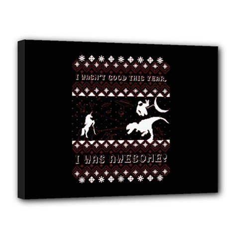 I Wasn t Good This Year, I Was Awesome! Ugly Holiday Christmas Black Background Canvas 16  X 12  by Onesevenart