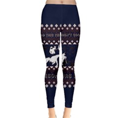 I Wasn t Good This Year, I Was Awesome! Ugly Holiday Christmas Blue Background Leggings  by Onesevenart