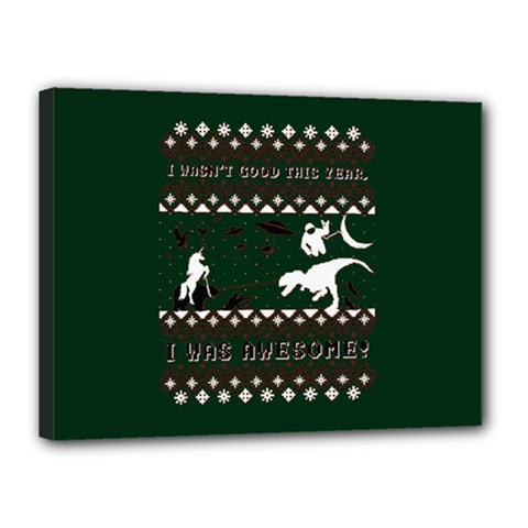 I Wasn t Good This Year, I Was Awesome! Ugly Holiday Christmas Green Background Canvas 16  X 12  by Onesevenart
