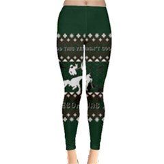 I Wasn t Good This Year, I Was Awesome! Ugly Holiday Christmas Green Background Leggings  by Onesevenart