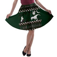 I Wasn t Good This Year, I Was Awesome! Ugly Holiday Christmas Green Background A Line Skater Skirt by Onesevenart