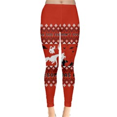 I Wasn t Good This Year, I Was Awesome! Ugly Holiday Christmas Red Background Leggings  by Onesevenart