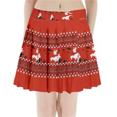 I Wasn t Good This Year, I Was Awesome! Ugly Holiday Christmas Red Background Pleated Mini Skirt by Onesevenart