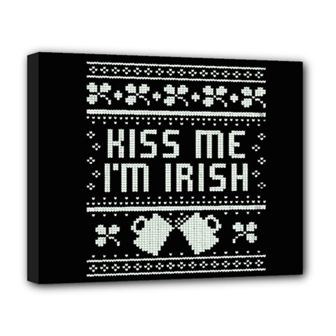 Kiss Me I m Irish Ugly Christmas Black Background Deluxe Canvas 20  X 16   by Onesevenart